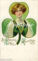 St Patrick's Day Greeting Fabric Block Shamrock Irish Woman