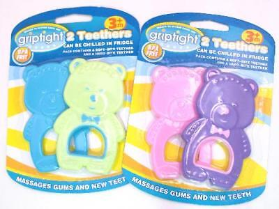 2 Pack Soothing Soft Hard Flower Shape Baby Teething Teether Rattle Griptight