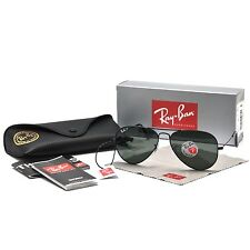 RAY-BAN MEN'S LARGE POLARIZED AVIATOR SUNGLASSES G-15 LENS RB3025 002/58 BLACK