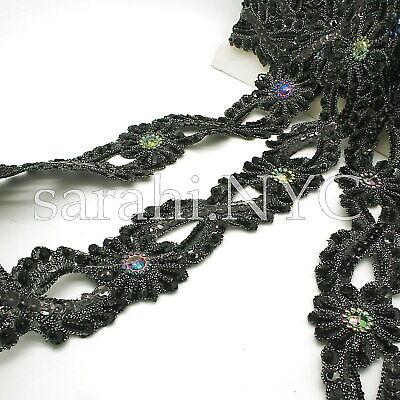 BLACK RHINESTONE  MOTIF APPLIQUE sew trimming,edging,sequin,bead,EMBELLISHMENT
