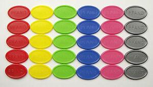 Pfandmarken-Wertmarken-Getraenkemarken-oval-PFAND-Mengen-amp-Farben-waehlbar