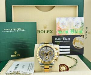 ROLEX-18kt-Gold-amp-SS-DAYTONA-Slate-Index-Fat-Buckle-116523-SANT-BLANC