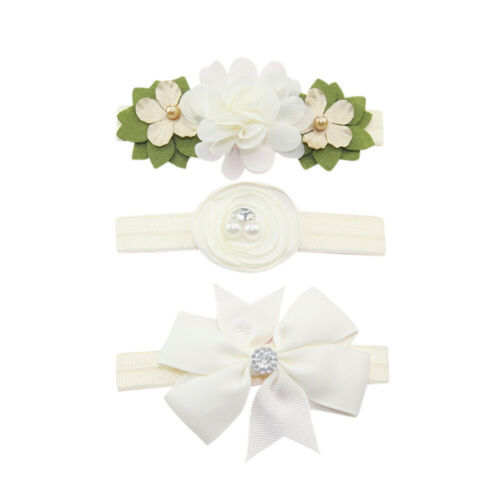 3Pc Kids Elastic Floral Bow Headband Hair Girls baby Bowknot Hairband Set  6M-5T