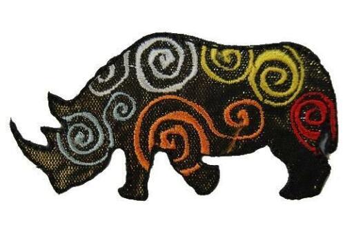 Rinoceronte 7,5 cm 4,1 cm perchas imagen Patch aplicación Savanne África zootier
