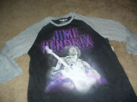 Jimi Hendrix Mens Rock N Roll Black & Gray Long Sleeve T-Shirt  Size Medium M
