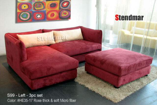 Stupendous 3Pc Modern Microfiber Sectional Sofa Ottoman S99 Ibusinesslaw Wood Chair Design Ideas Ibusinesslaworg