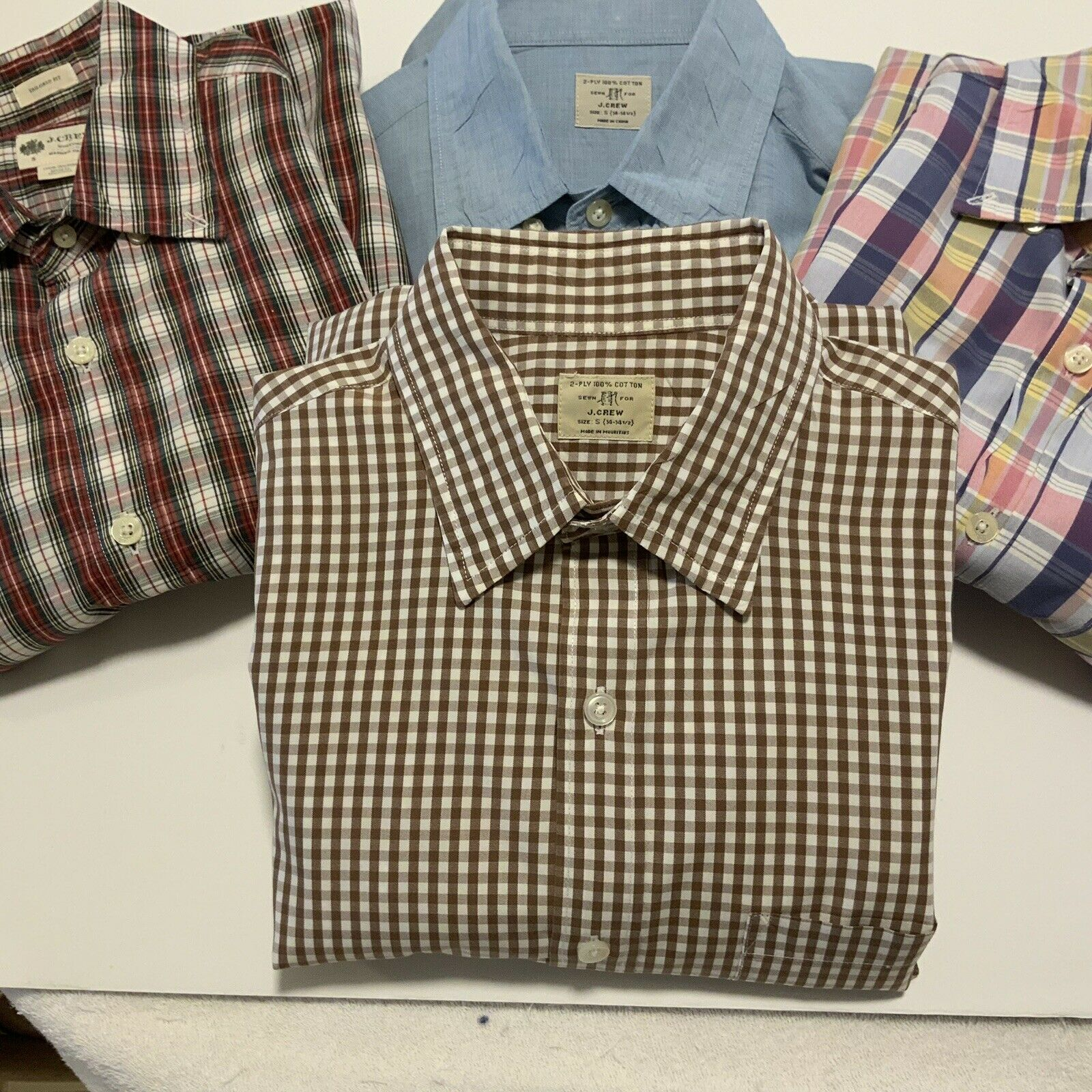 J Crew Mens Small Lot Of Four (4) Long Sleeve 100pc Cotton Shirts