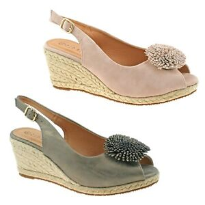 2e98c58a8 LADIES CIPRIATA NUDE AND PEWTER SLING BACK PEEP TOE WEDGE SANDALS ...