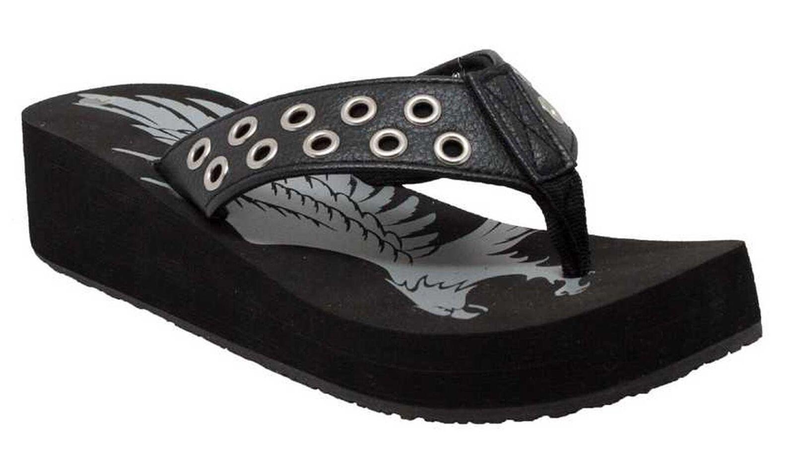 AdTec Women's Wedge Ring Thong Flip Flop Sandal, Small Wedge Women's Heel, Black. 8591 c13e12