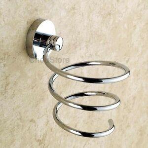 Brass Bathroom Wall Mounted Chrome Hair Dryer Holder Rack