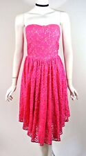 Betsey Johnson Hot Pink Lace Prom Formal Evening Dress 12/XL Strapless Full skir