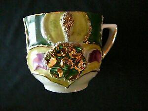 Antique-Victorian-German-Demitasse-Cup-Gold-amp-Floral-Raised-Excellent