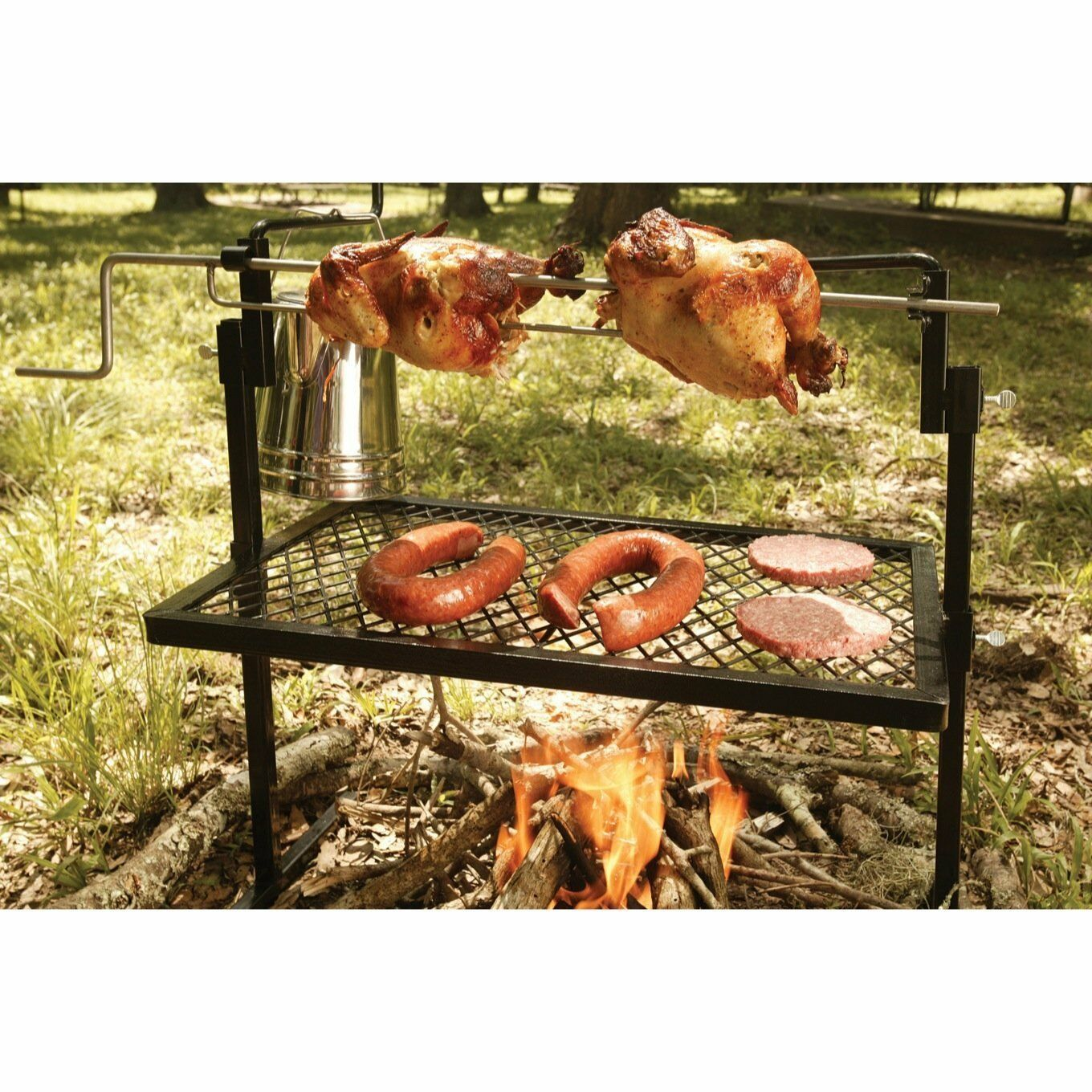 Campfire Cooking Heavy Duty redisserie Grill for Over Open Fire Outdoor Living