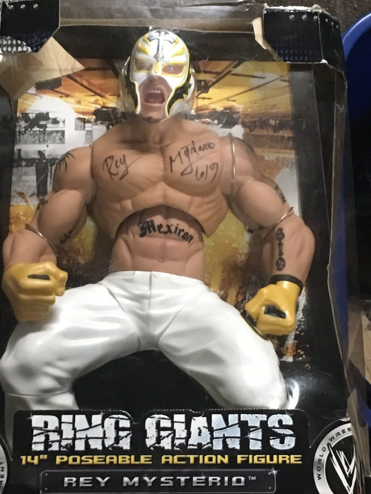 Autographed WWE Rey Mysterio Ring Giants 14 Poseable Action Figure