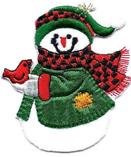 SNOWMAN w/RED CARDINAL BIRD-Iron On Embroidered Applique/Snowmen/Winter