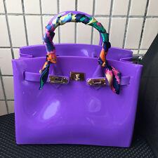 Purple ! Women  Metal Buckle Candy Color PVC Jelly Handbag Plastic Tote Bag