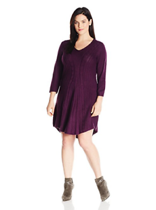 NY Collection Women's 3 4 Sleeve Knit Dress, Eggplant, 2X