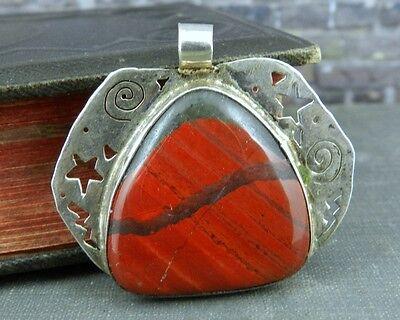 Artisan Sterling Silver Sun & Stars Red Jasper Reversible Pendant