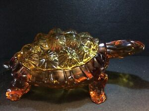 c1940-LG-Wright-Glass-Turtle-Covered-Candy-Dish-Amber-EXC-Free-Fast-Shipping