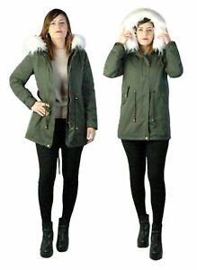 Dettagli su Parka donna Verde Giubbotto invernale cappuccio pelliccia Cappotto Lungo SLIM