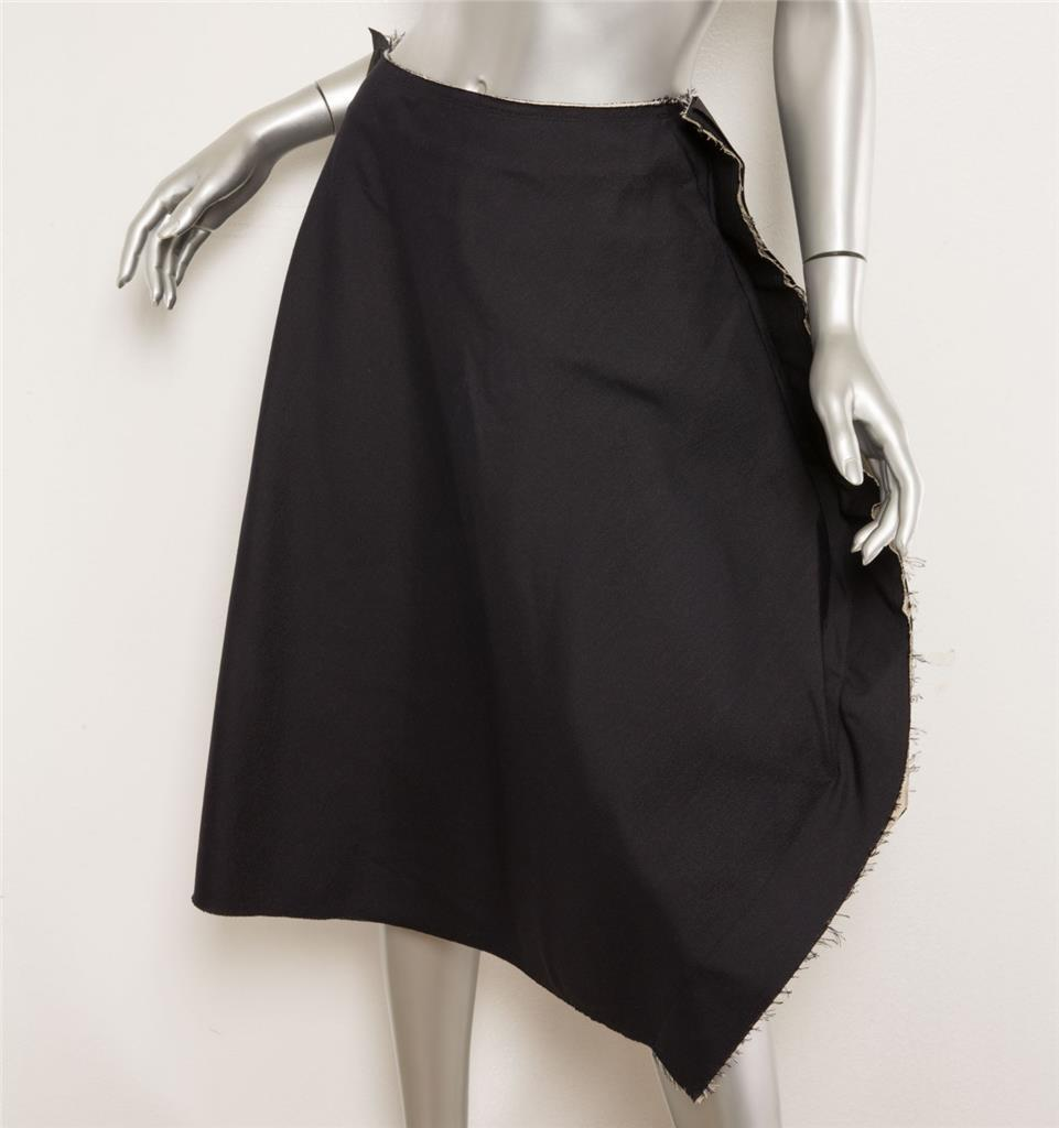 COMME DES GARCONS 2003 Navy bluee Raw Edge Hem Structured RUNWAY Skirt M NEW