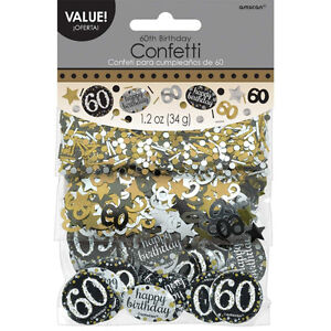 Image Is Loading 60th Birthday Confetti Table Decoration Sprinkle Black Silver