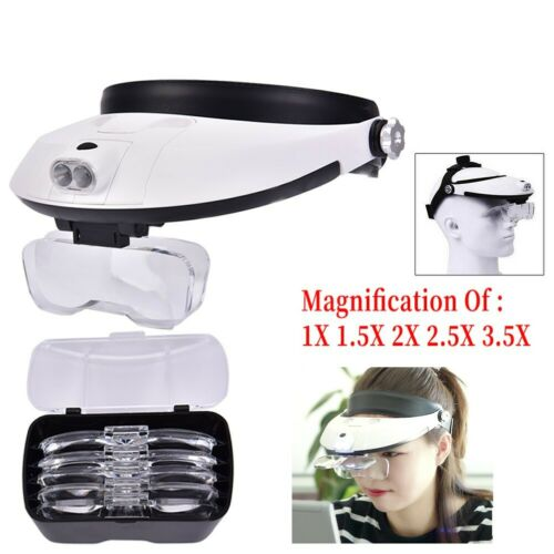 Headband Jeweler Magnifier Head-Mounted Reading Magnifying Glass With LED LigS.