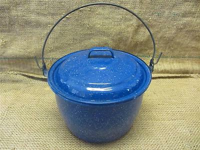 Vintage Enamel Ware Pot with Lid & Handle > Antique Old Cookware 8624