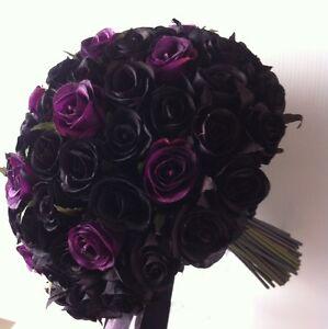 Black Amp Deep Purple Roses Posy 80 Buds Wedding Bouquet