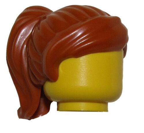 LEGO NEW DARK ORANGE MINIFIGURE HAIR WOMENS SHORT PONYTAIL GIRL WIG PIECE
