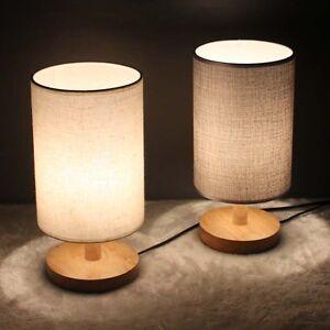 Modern Bedside Table Desk Lamp Light Wooden Base Linen