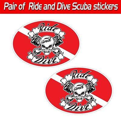"Set of 2 3/""x5/"" Female Major League Diver scuba decal sticker vinyl tank toolbox"
