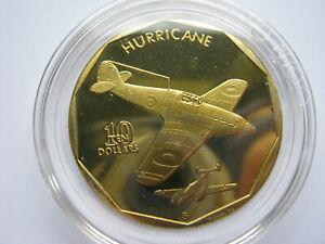 Marshall Islands 1991 Aircraft of WWII brass prooflike $10 Hurricane