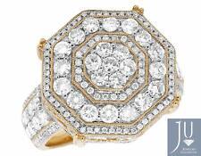 Men's 14K Yellow Gold Real Diamond Octagon Wedding Pinky Fashion Ring 3.0CT 20MM