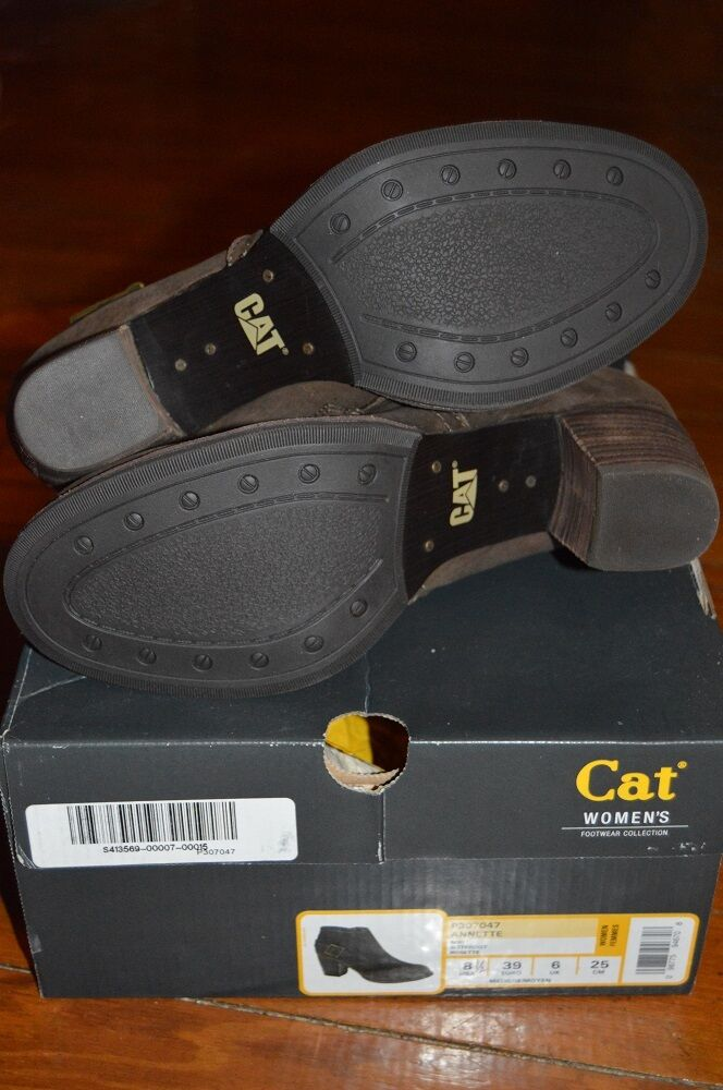 NEW CAT FOOTWEAR ANNETTE LEATHER LEATHER LEATHER BUCKLE DETAILED ANKLE BOOTS BROWN SIZE 8.5  132 54110c