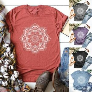 Women-Floral-Print-Tops-Graphic-Tees-Summer-Casual-Short-Sleeve-Loose-T-Shirt