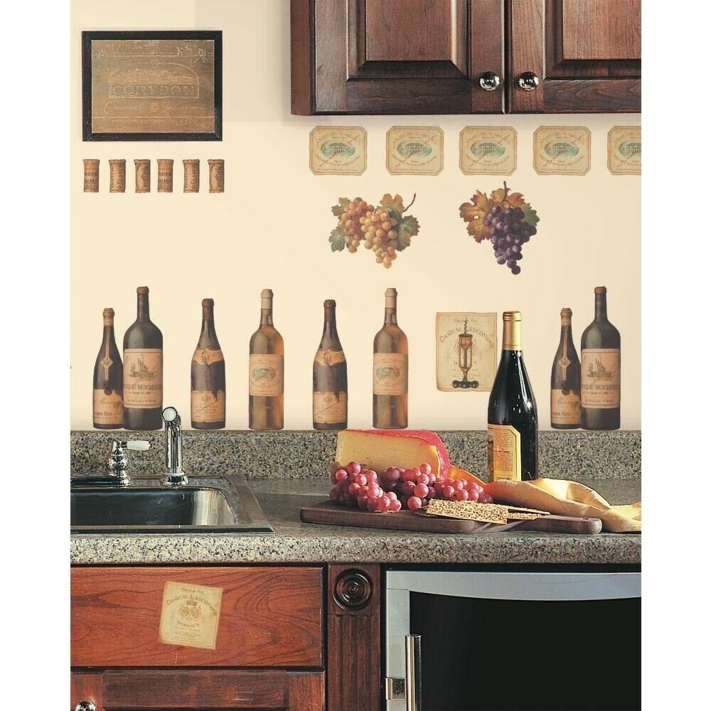 Wine Bottles 56 Wall Stickers Dining Room Decor Kitchen Decals Labels Grapes For Sale Online Ebay