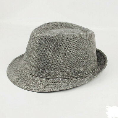 Gray Summer Beach Jazz Hat Sun Panama Gangster Cap Men Women Hot Trilby Fedora