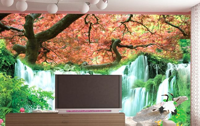 3D Leaves Waterfall Paper Wall Print Wall Decal Wall Deco Indoor Murals Wall
