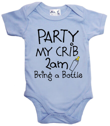 "Funny Baby Bodysuit /""Party My Crib 2 am Bring Bottle/"" Babygrow Newborn Gift"