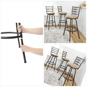 Remarkable Details About Best Adjustable Height Swivel Bar Stools Mainstays Set Of 3 Bronze Beige Finish Bralicious Painted Fabric Chair Ideas Braliciousco