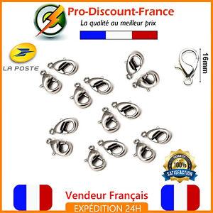 Lot-Fermoir-Mousqueton-16mm-Argente-Lot-de-1-3-10-ou-20-Bijoux-Bracelet-Collier