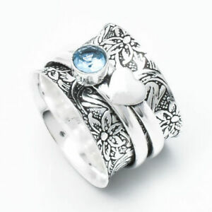 Solid-925-Sterling-Silver-Band-Spinner-Ring-Jewelry-Blue-Topaz-All-Size-DO-205