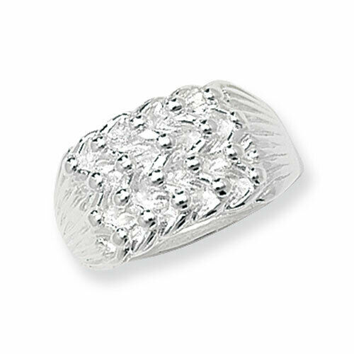 STERLING SILVER KEEPER RING 4 ROW WIDE SHOT KNOT BUCKLE SOLID BAND LARGE SIZES
