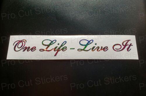 One Life Live It Rainbow Glitter Sparkles Car Scene Custom Novelty Sticker Decal