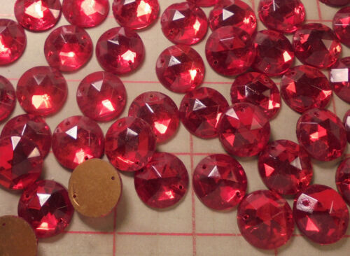 18 Vintage Connectors Sew Ons Flat Back Glass Faceted 18mm Czeckoslovakia Red