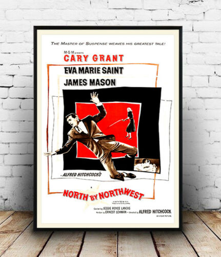 VintageCary Grant Film  advertising poster reproduction. North by Northwest
