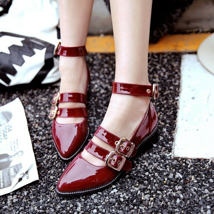 Womens Chunky Block Heels Pointed Toe Solid Oxfords Buckle Brogues Shoes Fashion