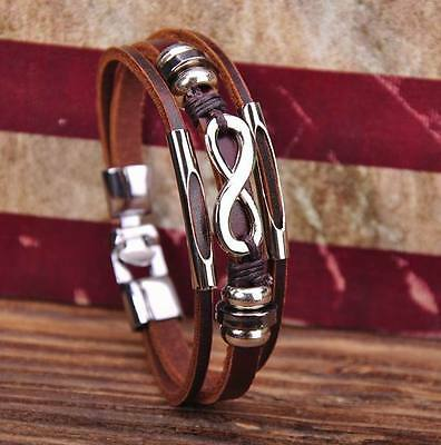 G118 Brown Cool Metal Infinity Surfer Leather Mens Wristband Bracelet Cuff New