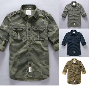 Slim-Fit-Mens-Casual-T-shirts-Long-Sleeve-Multi-Pockets-Shirt-camouflage-Tops-sz